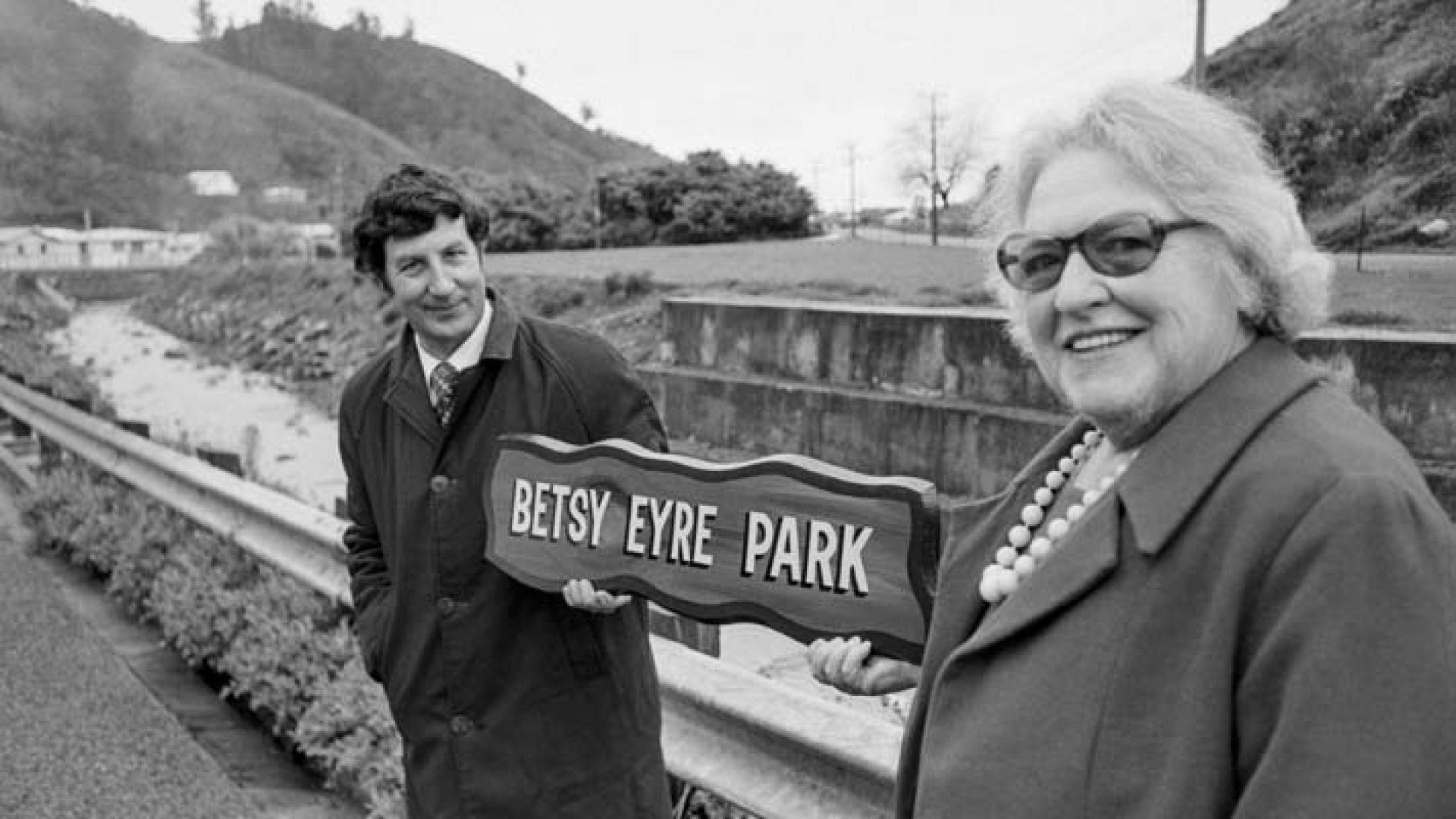 Betsy Eyre, right, with Nelson City Council director of parks, David Bell, at the opening of Betsy Eyre Park in<br />