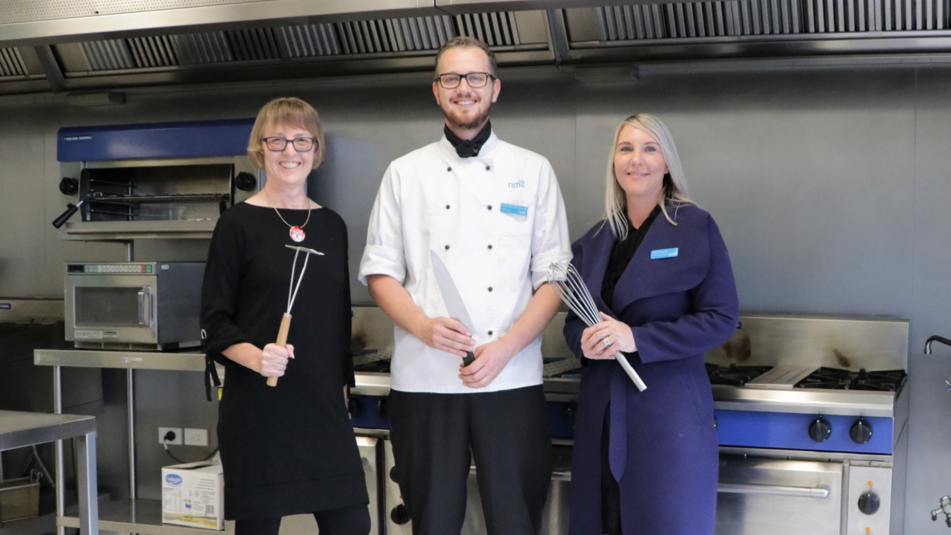 Photo: (L to R) Deputy Mayor Judene Edgar, NMIT Production & Catering Chef Rhys Van De Waardt and NMIT Hospitality Services Manager Kate Neame.
