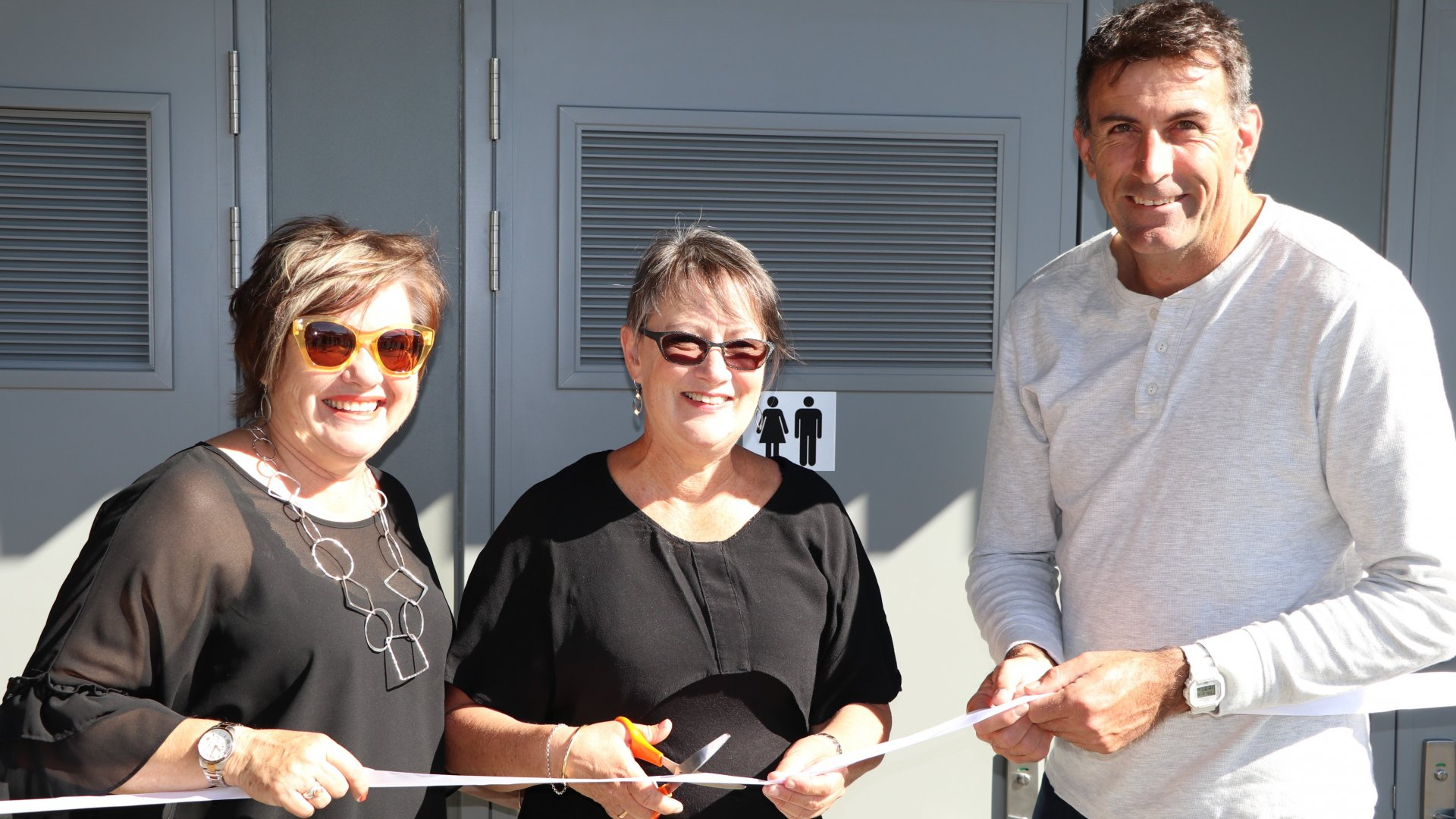 Photo: From left, Councillors Yvonne Bowater, Gaile Noonan and Tim Skinner at the opening of the Millers Acre toilets, made possible with the help of government funding.