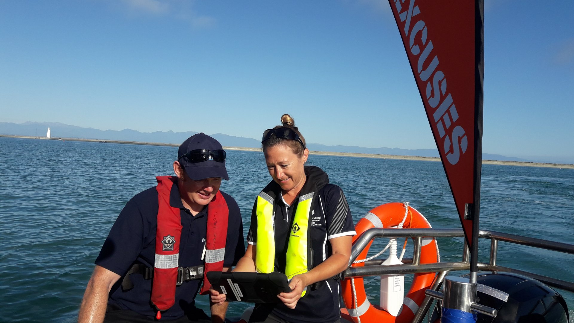 Caption: Maritime NZ working with Nelson's Deputy Harbourmaster Amanda Kerr during last summer's No Excuses Campaign.