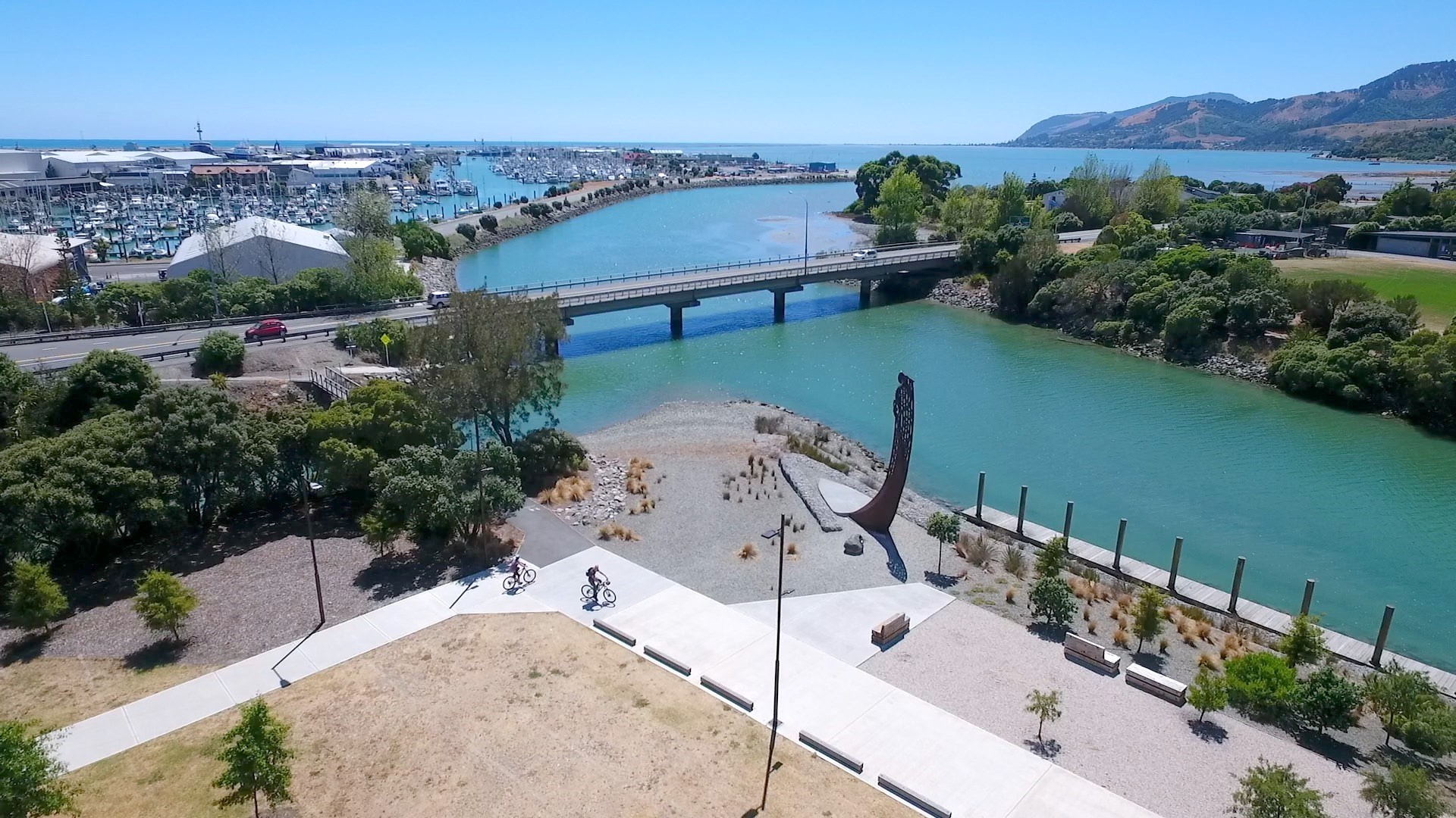 The Taurapa installed at the Waka Landing next to Rutherford Park.